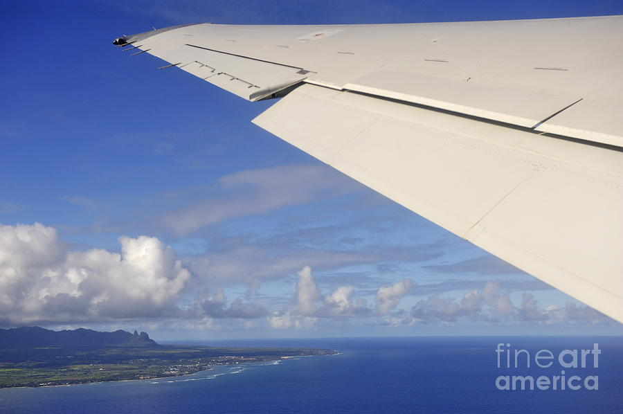 Wing Of Airplane Leaving Photograph  - Wing Of Airplane Leaving Fine Art Print