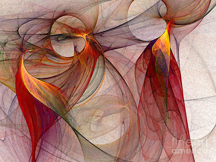 Abstract Digital Art - Winged-abstract Art by Karin Kuhlmann