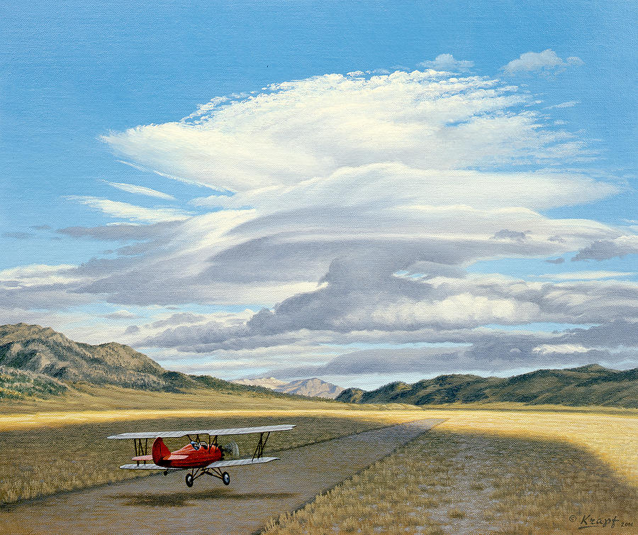 Landscape Painting - Winged Dreams -travelaire Biplane by Paul Krapf