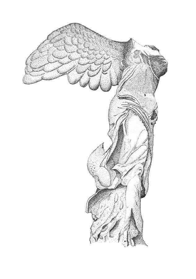 Winged Victory Of Samothrace Drawing - Winged Victory Of Samothrace by Steven Tomadakis