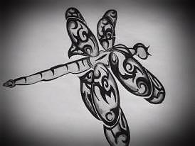 Tribaldragonfly Drawing - Wings by Kristin Smith