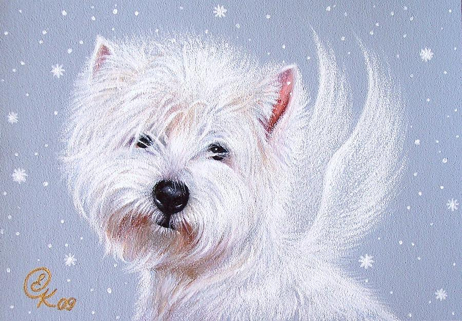 Winter Angel - Westie Drawing