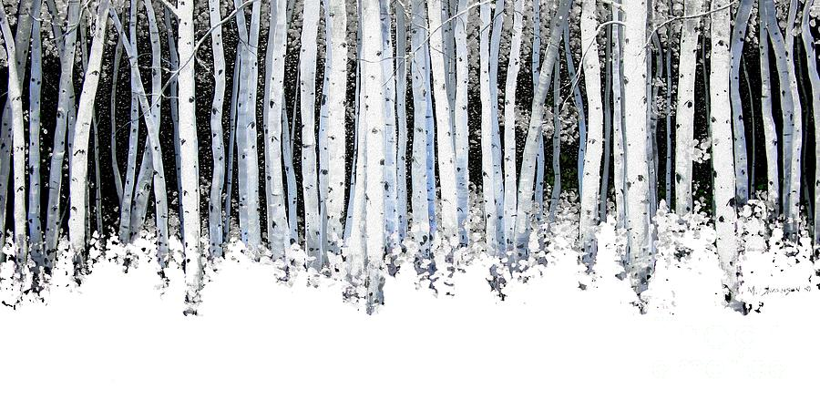Winter Aspens  Painting  - Winter Aspens  Fine Art Print