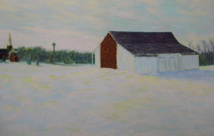 Winter Pastel - Winter At Mcphersons Barn Gettysburg by Joann Renner