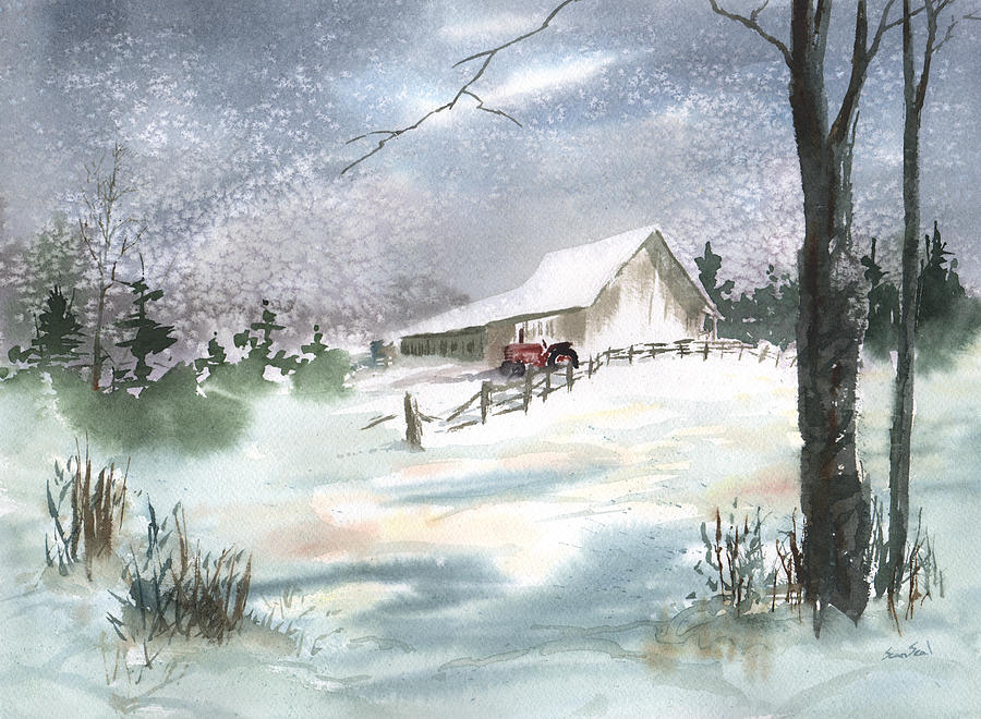 Winter Barn And Tractor Painting