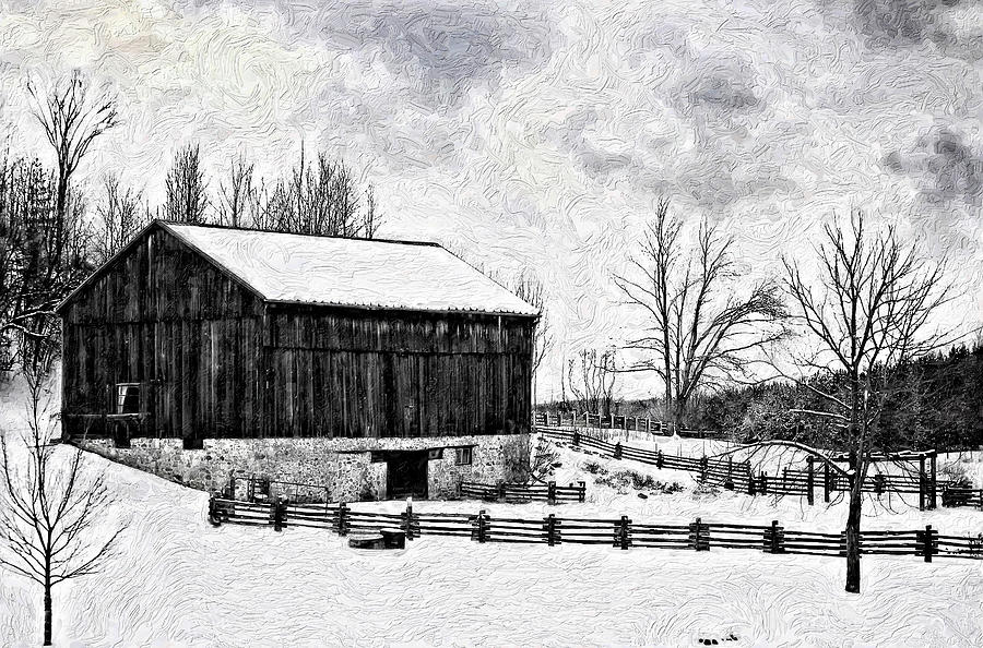 Winter Barn Impasto Version Photograph
