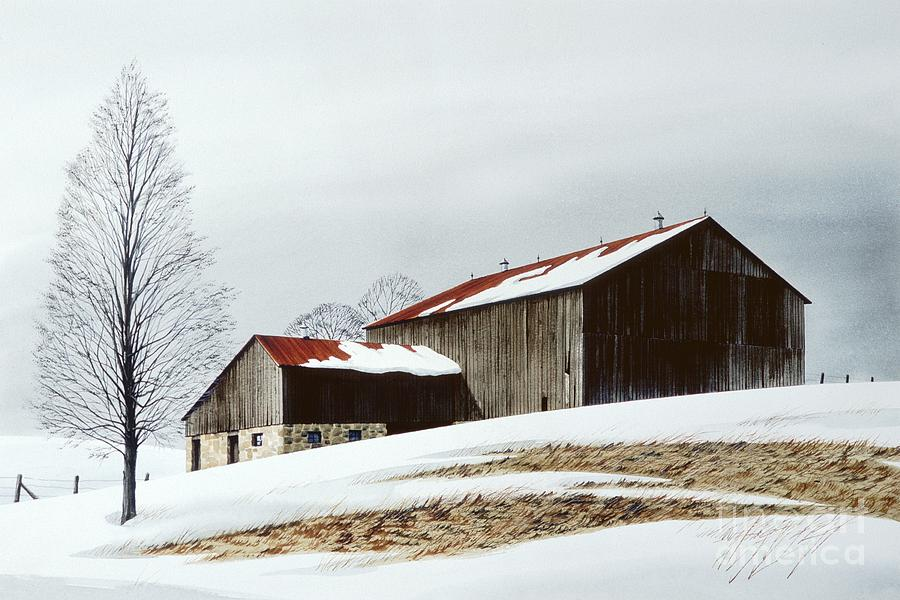 Landscape Painting - Winter Barn by Michael Swanson