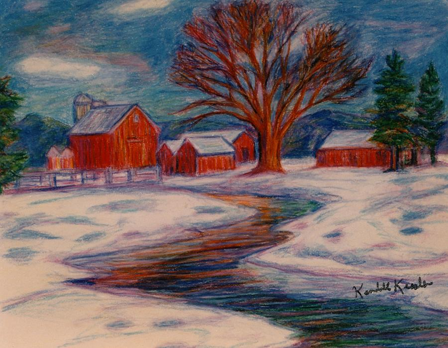 Winter Barn Scene Drawing  - Winter Barn Scene Fine Art Print