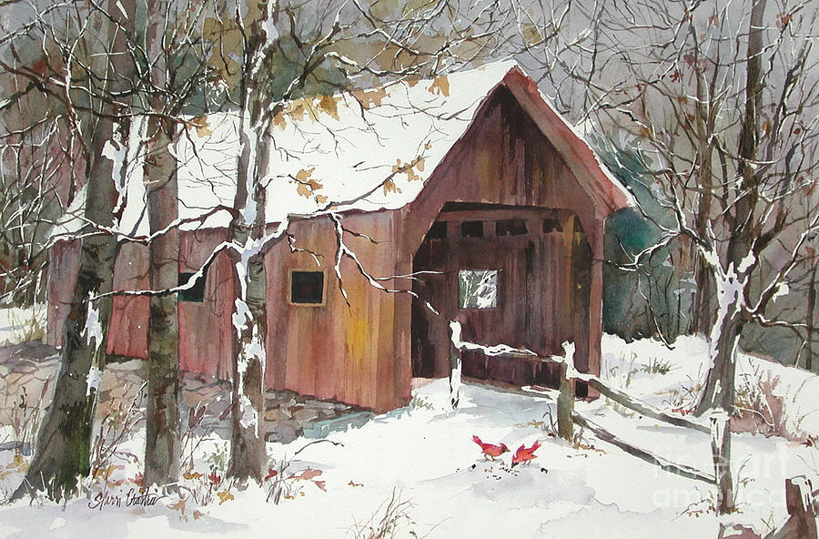 Covered Bridge Painting - Winter Crossing by Sherri Crabtree