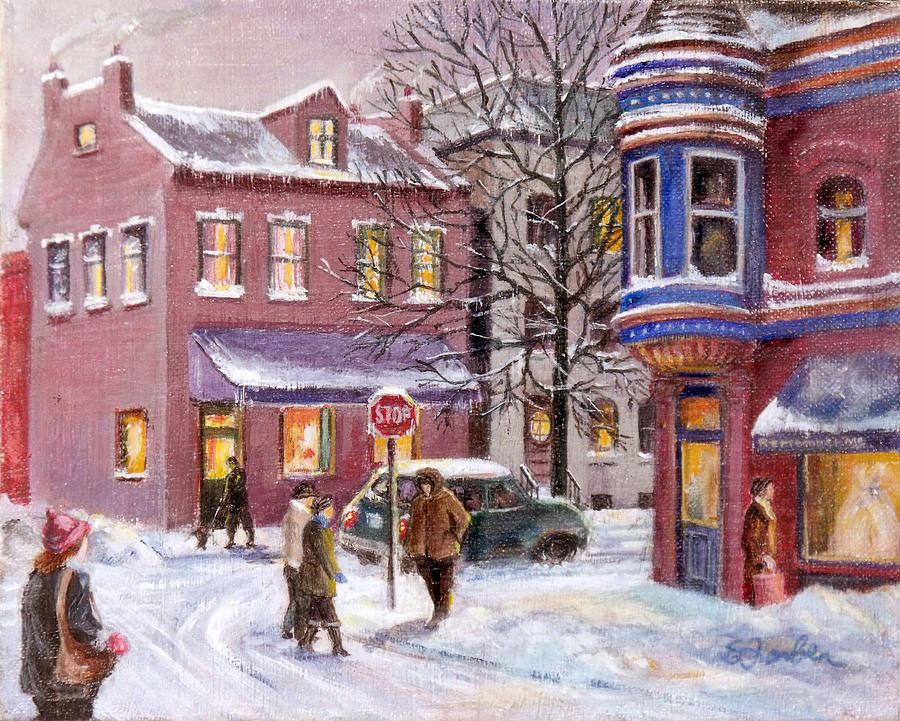 Streetscape Painting - Winter In Soulard by Edward Farber