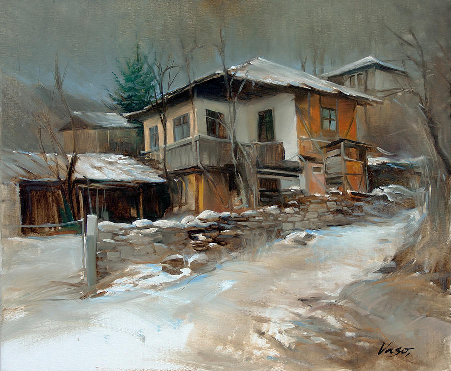Original Painting - Winter In Village by Vasil Vasilev