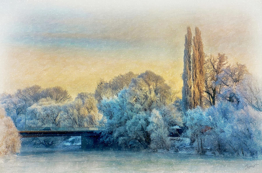 Winter Landscape With A Bridge Over The River Painting  - Winter Landscape With A Bridge Over The River Fine Art Print