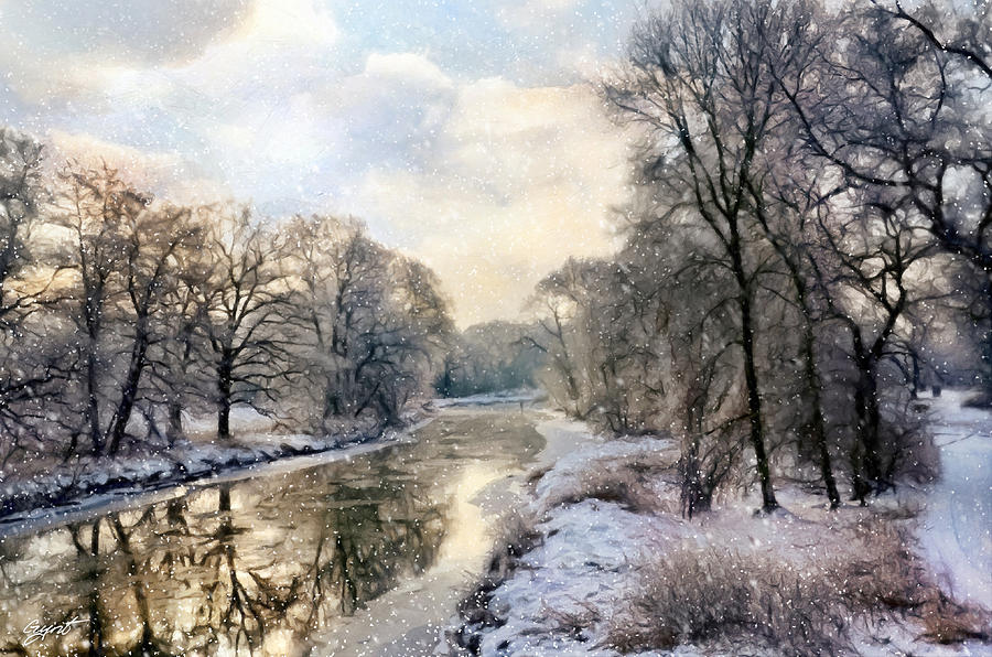 Winter Landscape With River Painting  - Winter Landscape With River Fine Art Print