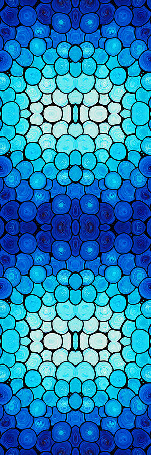 Winter Lights - Blue Mosaic Art By Sharon Cummings Painting
