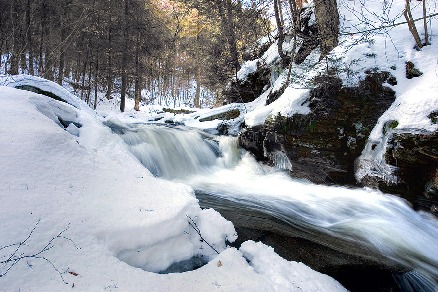 Waterfall Photograph - Winter Meltdown Rushing Over Conestoga Falls by Gene Walls