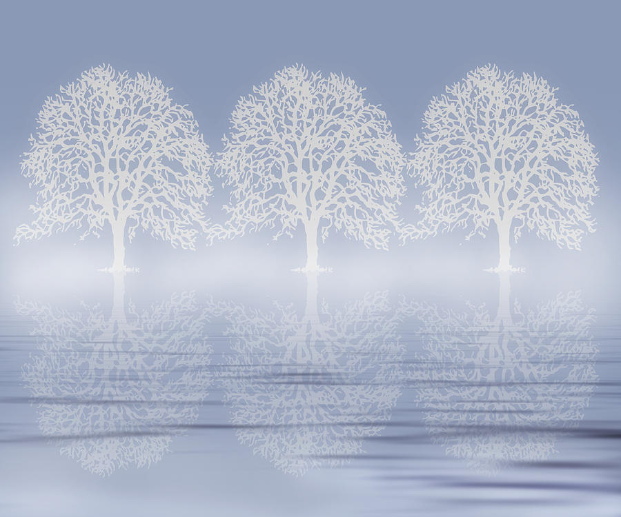Winter Mist On Water Digital Art  - Winter Mist On Water Fine Art Print