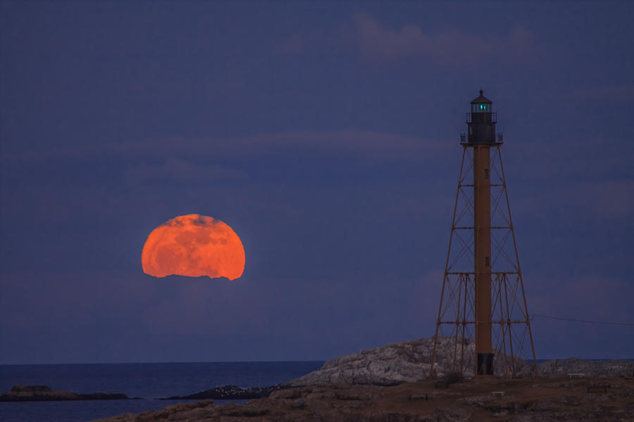 Winter Moon Rising Over Marblehead Light Photograph