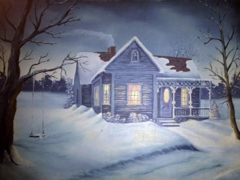Winter Night Painting by Jaynell Firmin