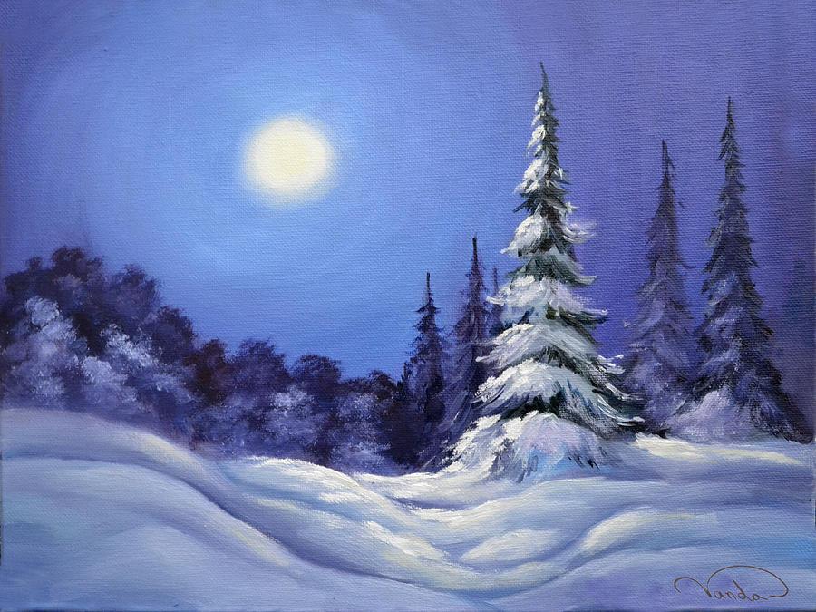 Winter Night Landscape Painting by Vanda Bleavins