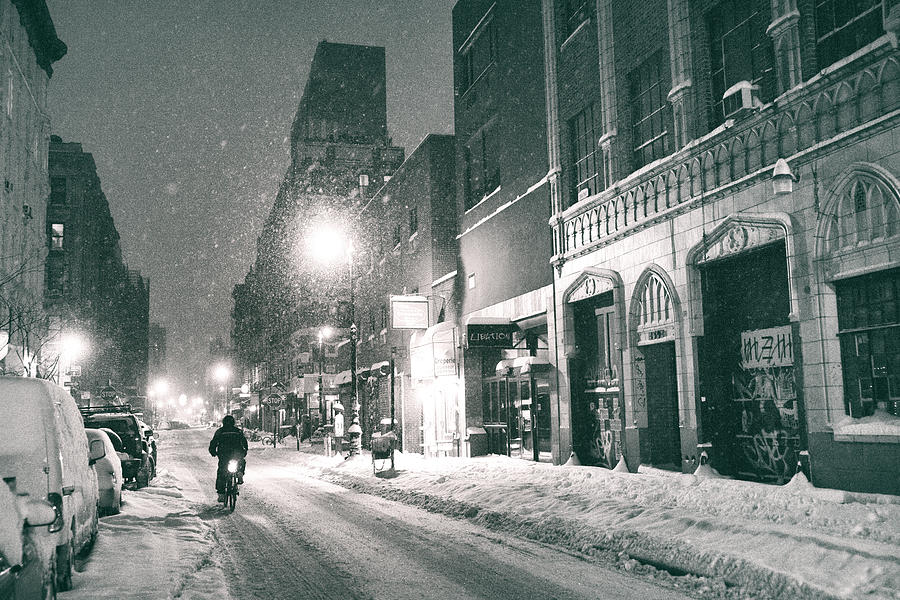 Nyc Photograph - Winter Night - New York City - Lower East Side by Vivienne Gucwa
