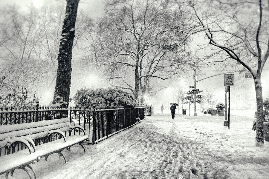 Winter Night - Snow - Madison Square Park - New York City Photograph