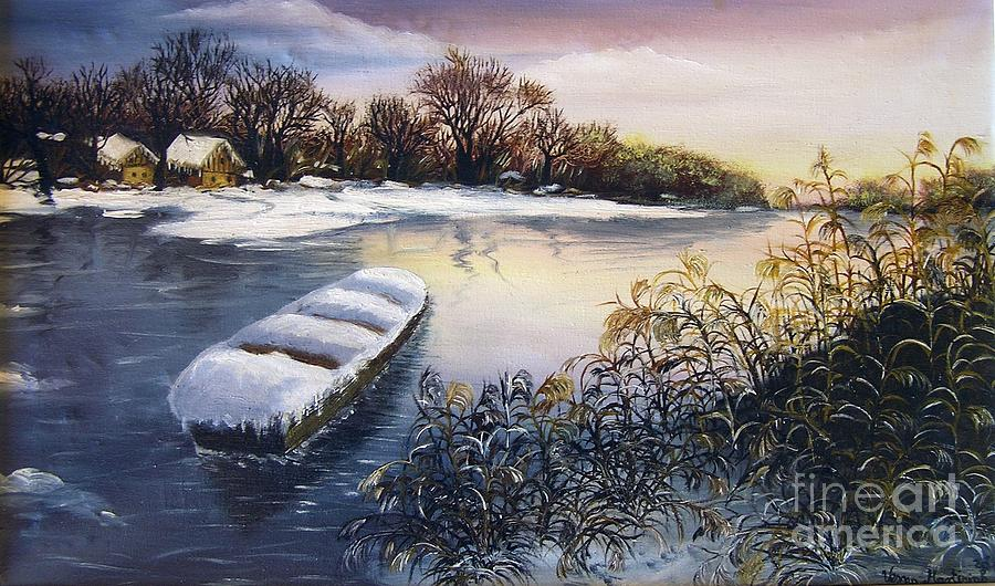 Winter On River Painting  - Winter On River Fine Art Print