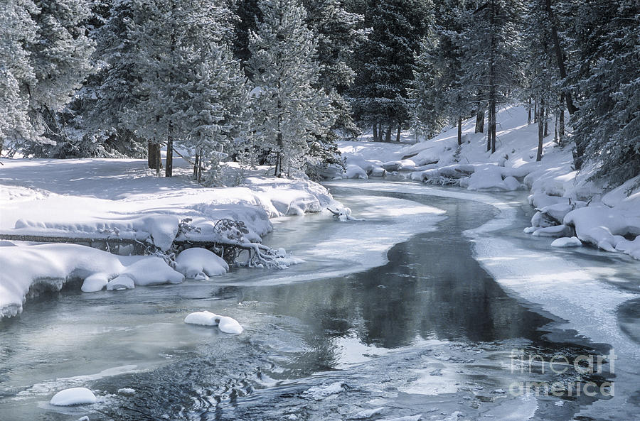 Winter On The Firehole River - Yellowstone National Park Photograph  - Winter On The Firehole River - Yellowstone National Park Fine Art Print