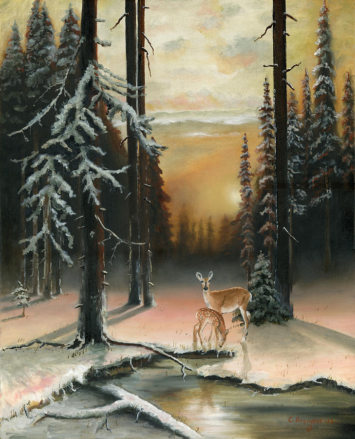 Winter Red Woods Painting