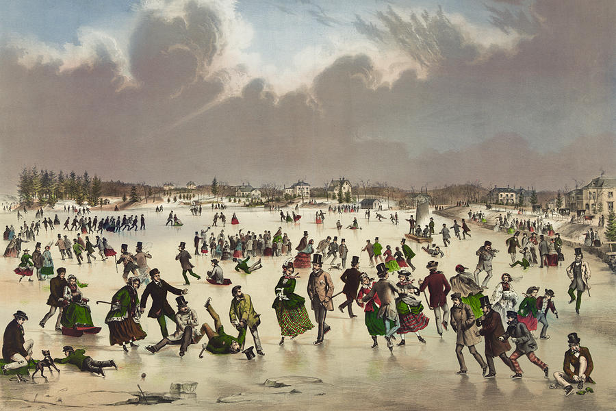 Winter Scene Circa 1859 Painting