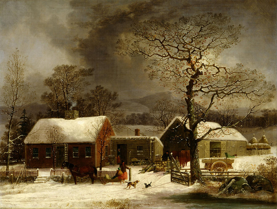 Winter Scene In New Haven Connecticut 1858 By Durrie Painting