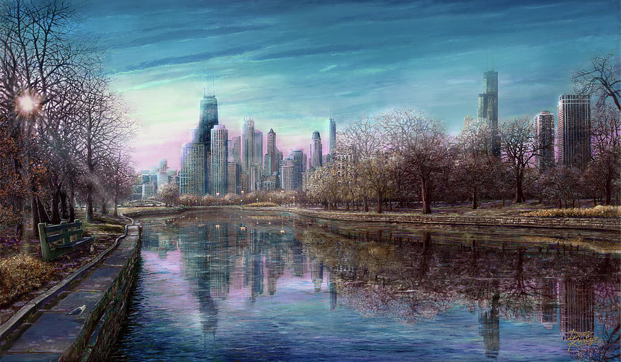 Winter In Chicago Painting - Winter Serenity Deep by Doug Kreuger