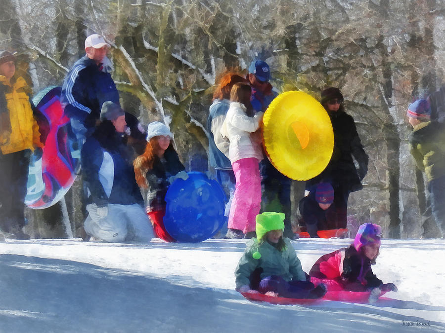 Winter - Sledding In The Park Photograph