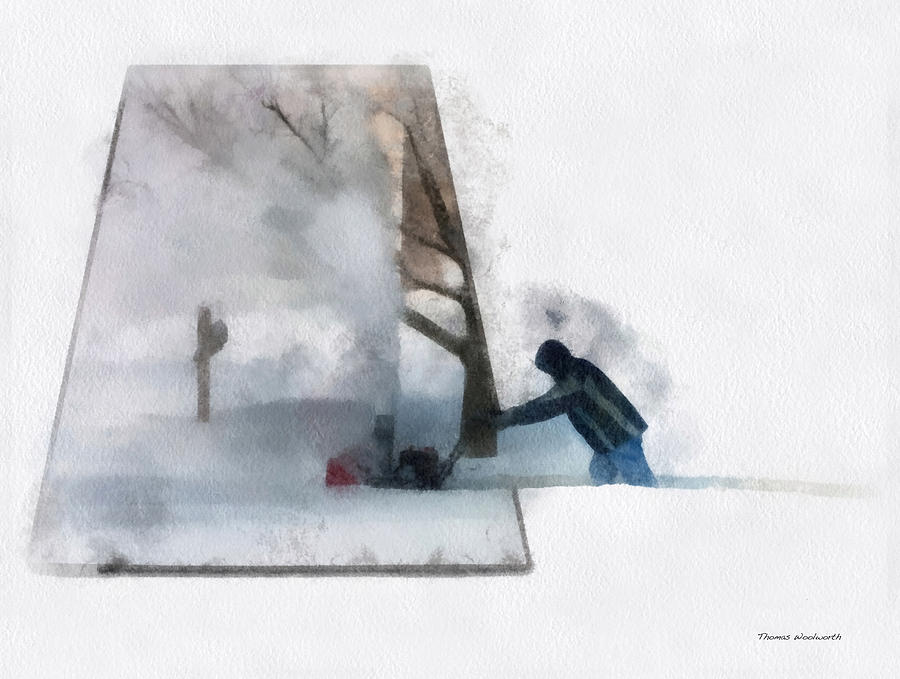 Outdoors Photograph - Winter Snow Blower Photo Art by Thomas Woolworth