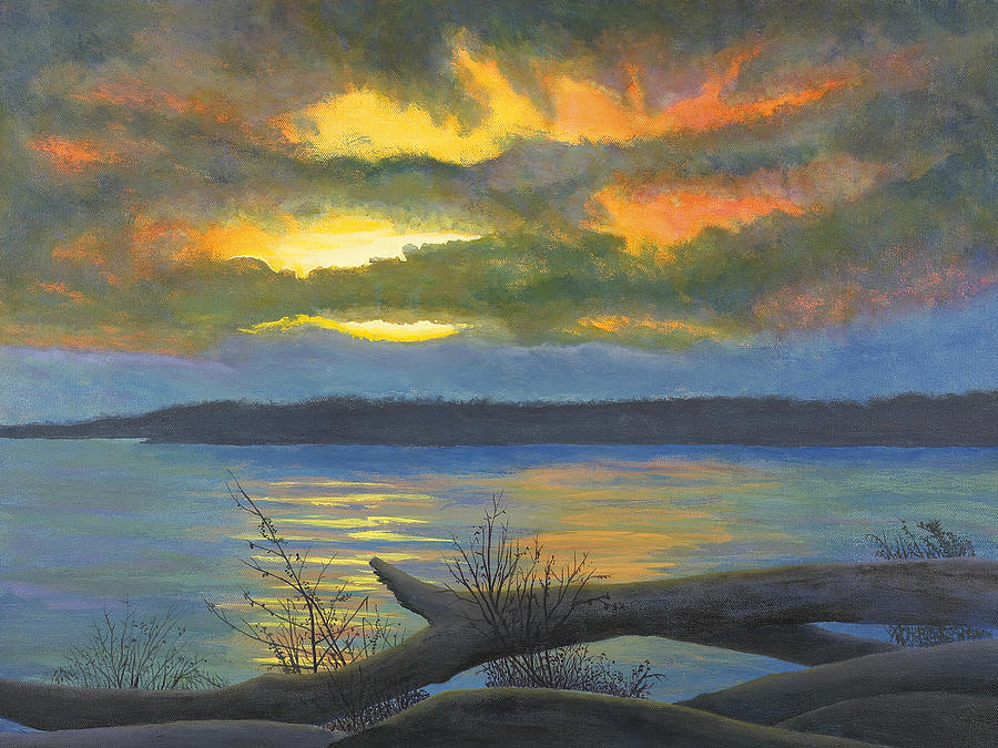 Winter Solstice At The Confluence Of The Mississippi And The Missouri Rivers Painting  - Winter Solstice At The Confluence Of The Mississippi And The Missouri Rivers Fine Art Print