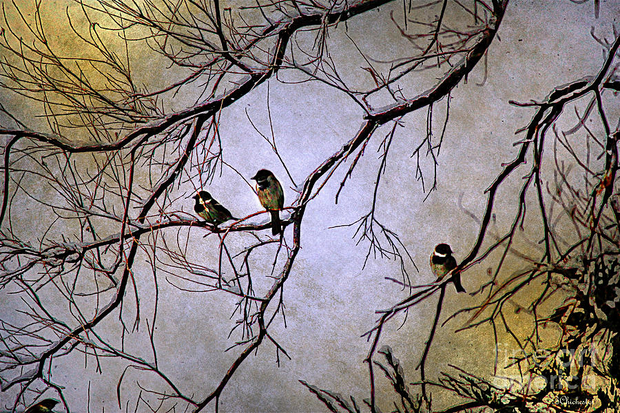 Winter Sparrow Dawn Painting