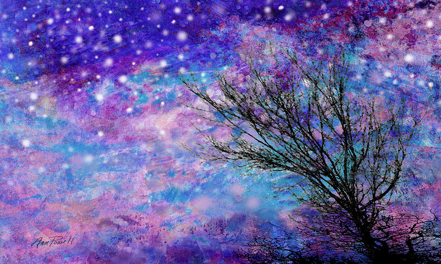 Winter Starry Night Painting  - Winter Starry Night Fine Art Print