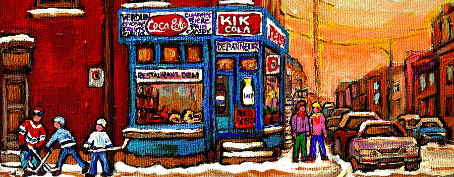 Winter Stroll Beautiful Sunny Day Montreal Street Scene  - Verdun Depanneur Hockey City Scene  Painting  - Winter Stroll Beautiful Sunny Day Montreal Street Scene  - Verdun Depanneur Hockey City Scene  Fine Art Print