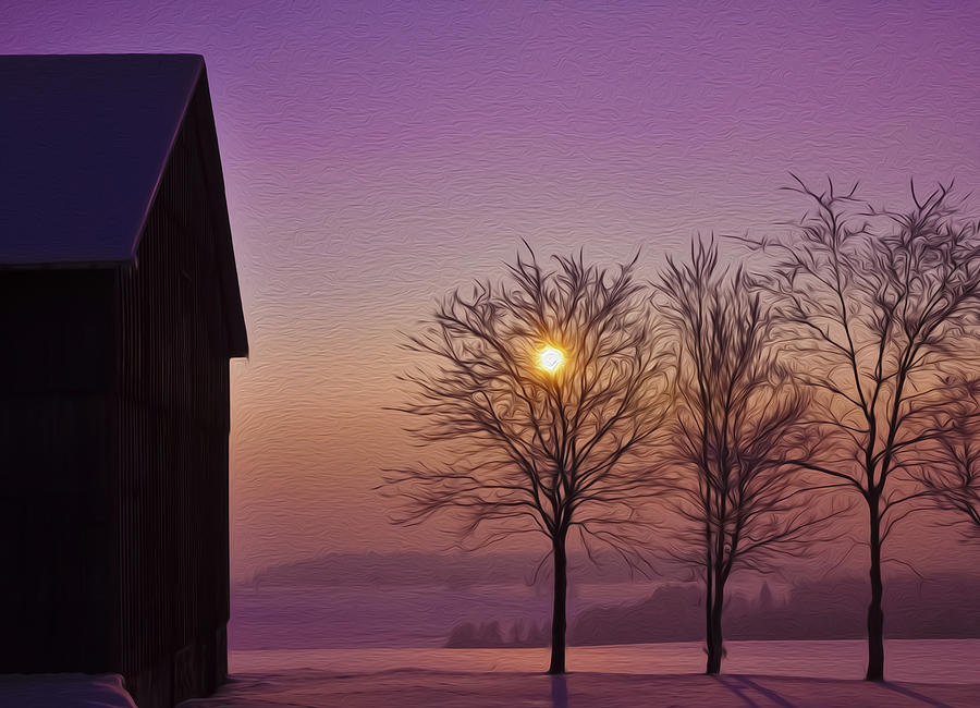 Winter Photograph - Winter Sunset by Aged Pixel
