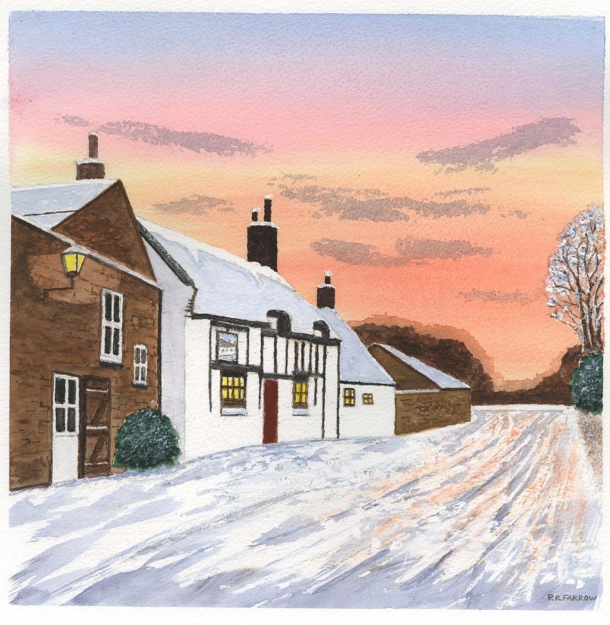 Winter Sunset At the Wheatsheaf - Raby - Wirral Painting
