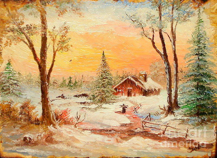 Winter Sunset Painting