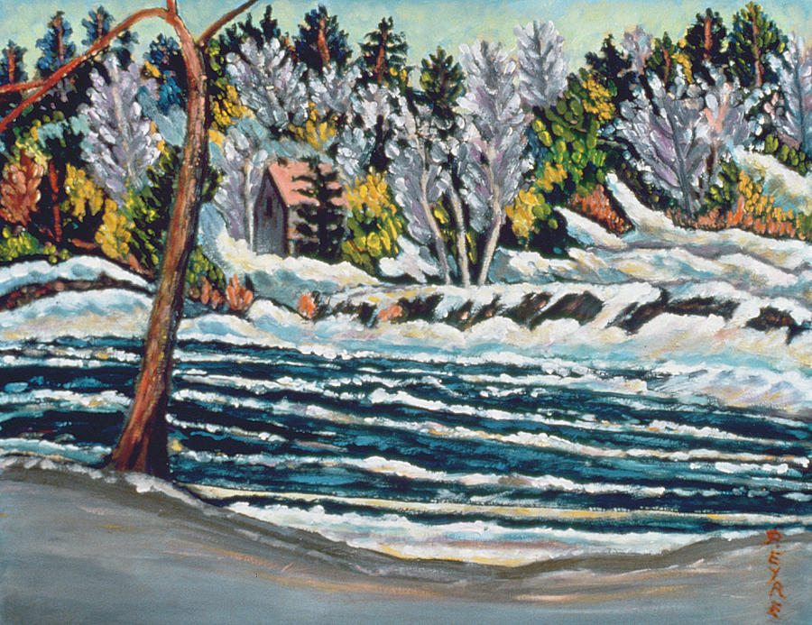 Winter Thaw Gatineau River Painting  - Winter Thaw Gatineau River Fine Art Print