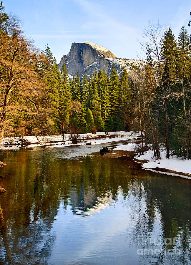 Winter View Of Half Dome In Yosemite National Park. Photograph  - Winter View Of Half Dome In Yosemite National Park. Fine Art Print