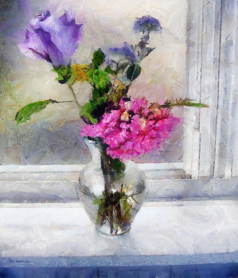 Flowers Painting - Winter Windowsill by RC deWinter