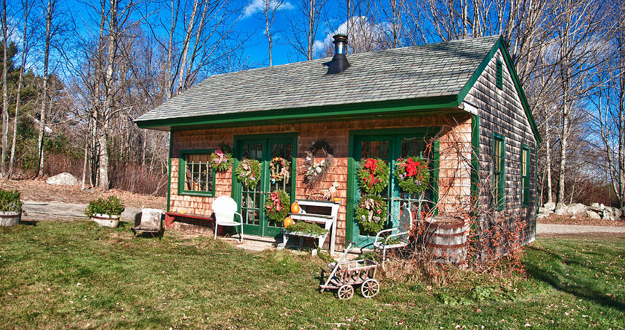 Barn Photograph - Winterberry Farm Stand by Guy Whiteley