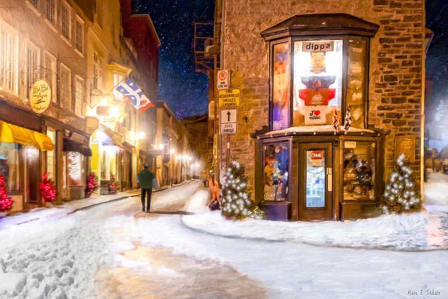 Wintery Streets Of Old Quebec At Night Photograph