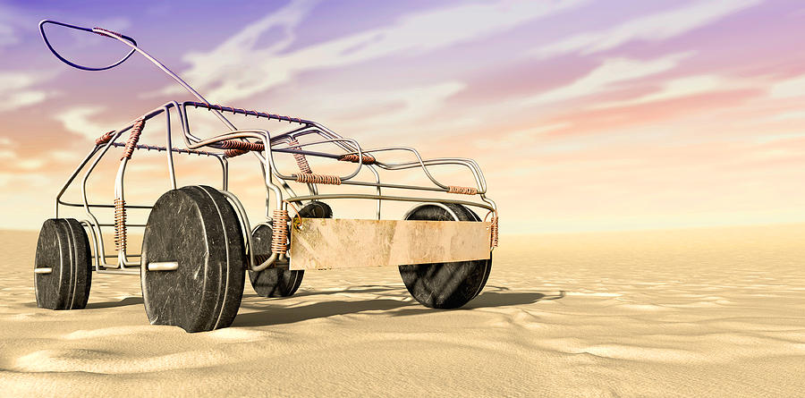 Wire Toy Car In The Desert Perspective Digital Art
