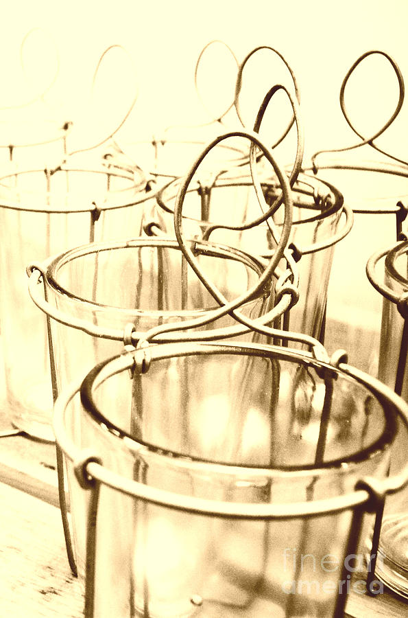 Wired Glass In Sepia Photograph