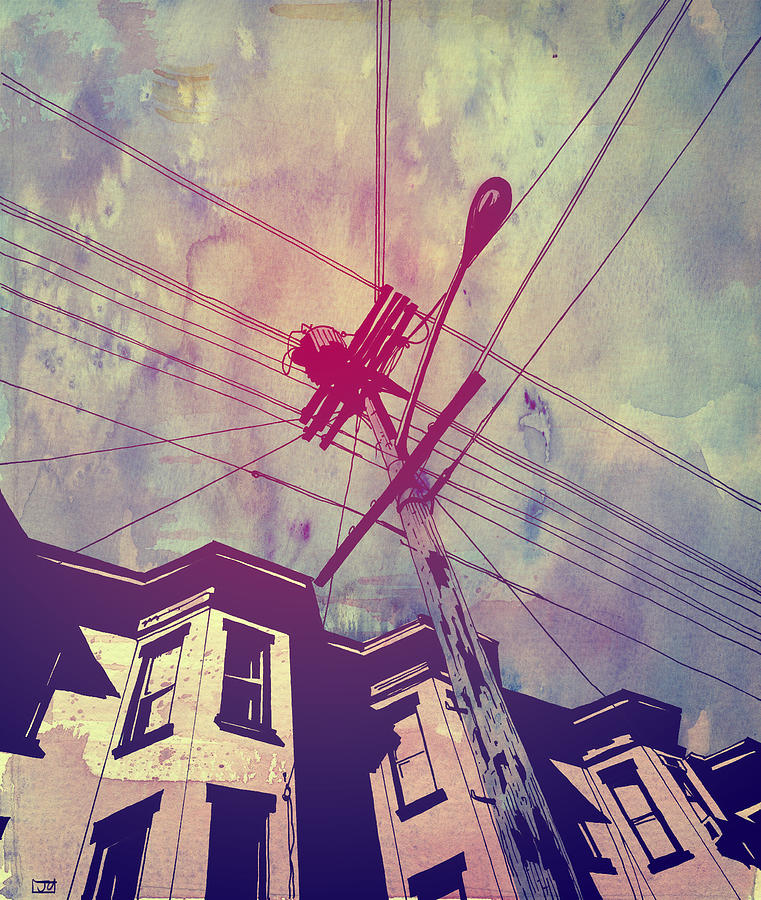 Wires Drawing  - Wires Fine Art Print