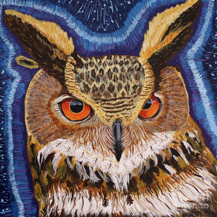 Owl Painting - Wisdom by Vicki Maheu