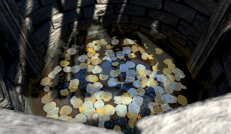 Wishing Well With Coins Perspective Digital Art